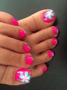 bright hibiscus pedicure
