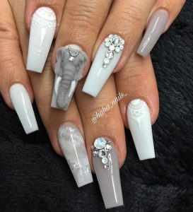 elephant 3D nails