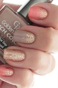 faded glitter on coral taupe