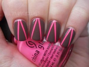 hot pink triangle taupe