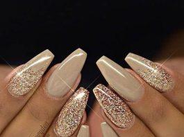 coffin nude glitter nails