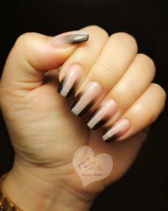modern nude black stripe ombre