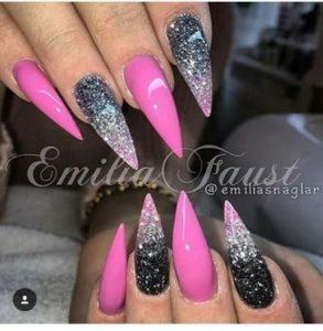 hot pink glitter black ombre