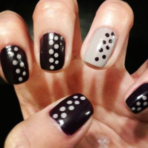 taupe black dots
