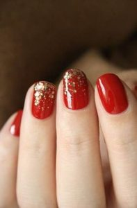 ombre glitter on red
