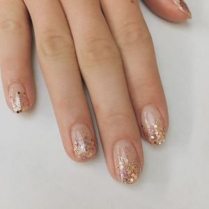 clear nails with glitter fade