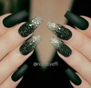 matte black silver ombre