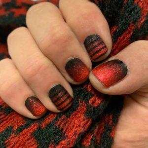 red glitter ombre black