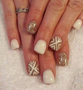 white and gold short nail design
