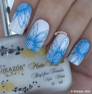 stamped blue flowers