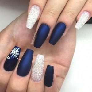 navy winter blue nails