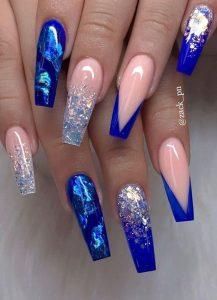 blue silver design acrylics