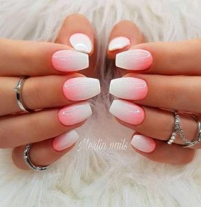 white with touch of pink ombre
