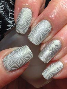 white metallic circling