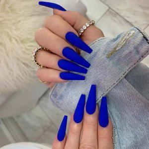 matte bright blue acrylics