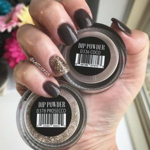 dip powder brown glitter