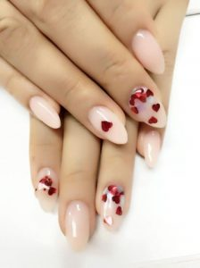 nude nail red heart glitter