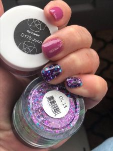 dip powder mauve glitter