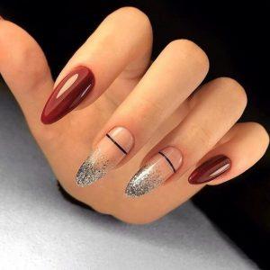 silver ombre nude stripe