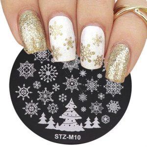white gold glitter snow stamp