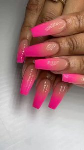 pink nude ombre french tip