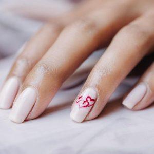 nude polish red hearts locked