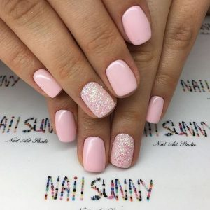 dip powder pink accent