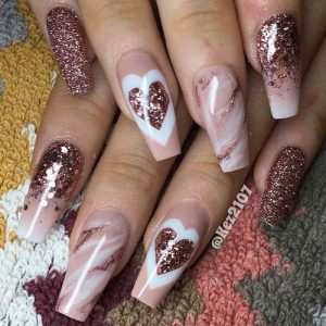 rose gold marble heart