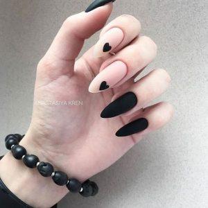 nude matte black hearts