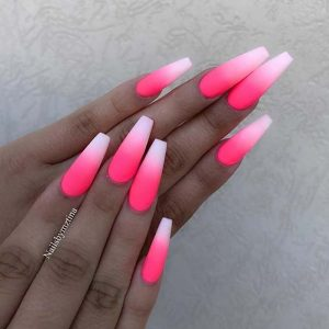 hot pink white tip ombre coffin