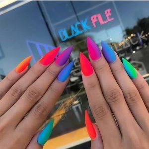ombre matte neon colors