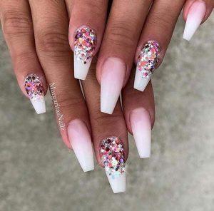 white tip ombre pink glitz