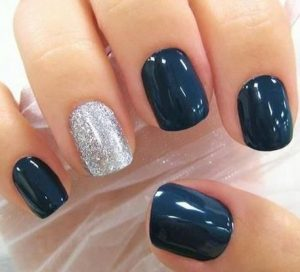 dip powder navy accent