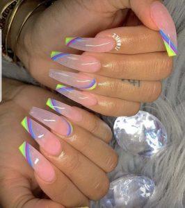 neon rainbow clear nails