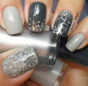 flower stamps grey tones