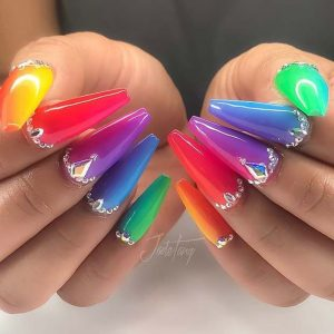 rainbow coffin rhinestones