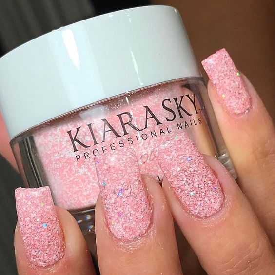 dip powder pink glitter color