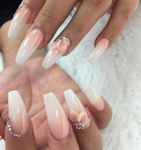 3d pink flower ombre white pink