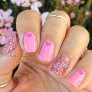 shades of pink hearts glitz