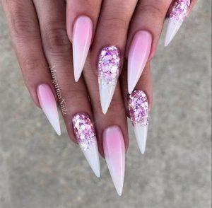 stiletto glitter fading pink
