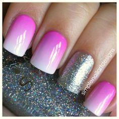 accented glitz white pink fade