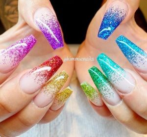 rainbow french ombre nude