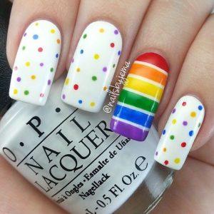 white rainbow dots stripes