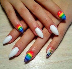stiletto rainbow striping