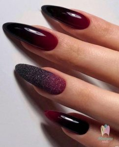 black red edgy ombre french