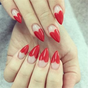 french red heart mani