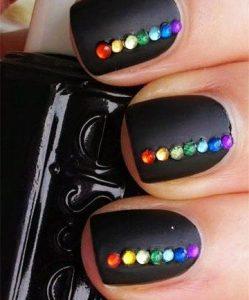 matte black rainbow stones
