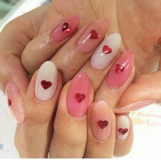 pink monochrome red glitter hearts