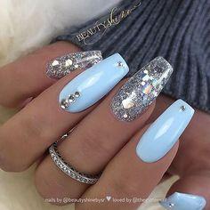 sky blue rhinestone embellish