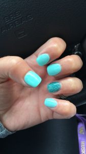 dip powder bright teal